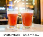 duo beers in glass on table at... | Shutterstock . vector #1285744567