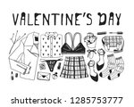 hand drawn fashion illustration ... | Shutterstock .eps vector #1285753777