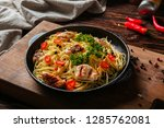 tasty pasta with chicken and... | Shutterstock . vector #1285762081