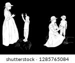 illustration with mother and... | Shutterstock .eps vector #1285765084