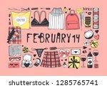 hand drawn fashion illustration ... | Shutterstock .eps vector #1285765741