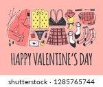 hand drawn fashion illustration ... | Shutterstock .eps vector #1285765744