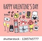 hand drawn fashion illustration ... | Shutterstock .eps vector #1285765777