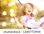 little child blond girl having... | Shutterstock . vector #1285772944