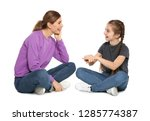 hearing impaired mother and her ... | Shutterstock . vector #1285774387