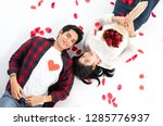 top view of happy young couple... | Shutterstock . vector #1285776937