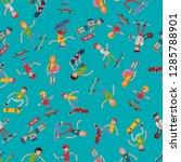 teenage skateboarding seamless...   Shutterstock .eps vector #1285788901