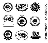 donut labels and elements set.... | Shutterstock .eps vector #1285801327
