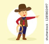 cowboy holding a lasso for...   Shutterstock .eps vector #1285802497