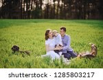 family on a picnic in the... | Shutterstock . vector #1285803217