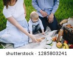 family on a picnic in the... | Shutterstock . vector #1285803241