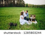 family on a picnic in the... | Shutterstock . vector #1285803244