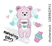 pink bear holds a cup of coffee ...   Shutterstock .eps vector #1285832911