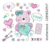 pink bear with hearts in his... | Shutterstock .eps vector #1285832917