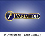 gold emblem or badge with pen... | Shutterstock .eps vector #1285838614