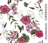 trendy seamless flower pattern... | Shutterstock .eps vector #1285842631