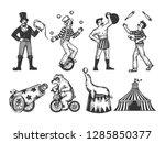retro circus performance set... | Shutterstock . vector #1285850377