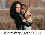 young caucasian mother with a... | Shutterstock . vector #1285851784