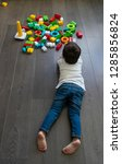 happy baby playing with toy... | Shutterstock . vector #1285856824