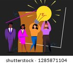 light bulb. people work in a... | Shutterstock .eps vector #1285871104
