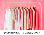 pink colored women clothes | Shutterstock . vector #1285892914