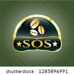 gold emblem with coffee bean... | Shutterstock .eps vector #1285896991