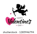 cupid black silhouette with bow ... | Shutterstock .eps vector #1285946794
