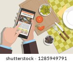 man looking for a cooking... | Shutterstock .eps vector #1285949791