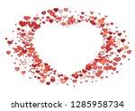 scattered red hearts frame on... | Shutterstock .eps vector #1285958734