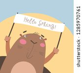 groundhog looking out from his...   Shutterstock .eps vector #1285970761
