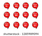 set of red sale icon banners in ... | Shutterstock .eps vector #1285989094