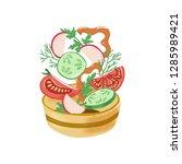 slices of tomato  bell pepper ... | Shutterstock .eps vector #1285989421