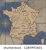 old  fantasy themed france... | Shutterstock .eps vector #1285992601