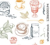 hand drawn illustration  coffee ... | Shutterstock .eps vector #1286000194