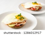 fried egg on wholemeal bread... | Shutterstock . vector #1286012917