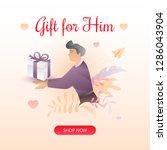 valentine's day square beige... | Shutterstock .eps vector #1286043904