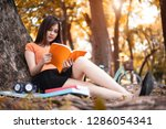 asian beauty woman reading book ... | Shutterstock . vector #1286054341