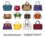 woman color bags designer...   Shutterstock .eps vector #1286073547