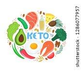 keto   hand drawn inscription.... | Shutterstock .eps vector #1286077957