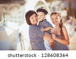 happy young family have fun and ... | Shutterstock . vector #128608364