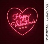 happy valentines day. neon...   Shutterstock .eps vector #1286087731