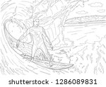 coloring books. extreme sports. ... | Shutterstock .eps vector #1286089831