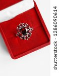 luxury ruby ring in red jewel...   Shutterstock . vector #1286090614