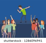 music singer on stage  crowd of ... | Shutterstock .eps vector #1286096941