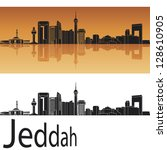 Jeddah skyline in orange background in editable vector file - stock vector