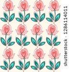 seamless pattern floral... | Shutterstock .eps vector #1286114011