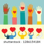 share your love. hands with... | Shutterstock .eps vector #1286154184