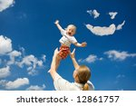 father throw his daughter over... | Shutterstock . vector #12861757
