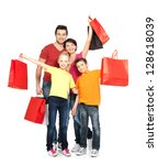 Happy Family With Shopping Bag...