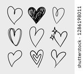 vector set of doodle hand drawn ... | Shutterstock .eps vector #1286198011